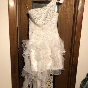 White Short tulle beaded prom dress